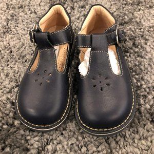 Girls Kid Express Navy Leather Buckle Shoes